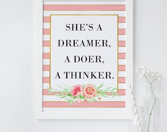 floral wall art print, Motivational Quote Print, Chic print, Printable decor, home office wall art, spade quote, party sign, nursery