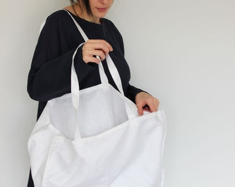 Linen bag, Tote, Beach bag, Beach tote, Everyday bag, Linen handbag