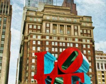 Love Park, Philadelphia, Philadelphia's Love Park, LOVE, City of Brotherly Love, LOVE sculpture, JFK Plaza, Cityscape, Urban Art, Art Print