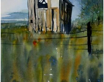 Original watercolor painting, architecture, landscape, Texas