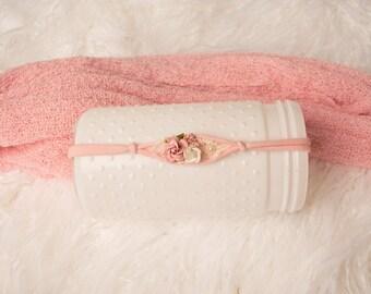 Pink Baby Headband, Newborn Headband, Newborn Tieback, Photo Prop