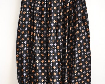 Vintage 90s Abstract Diamond Print Knee Length Skirt