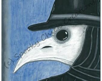 "Plague Doctor Mask Bubonic Plague Black Death Gothic Horror Medieval Dark Ages Art Print 4x6"""