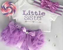 Little Sister Onesie/ Baby girl outfit/ 3 piece set/ SweetSparkle
