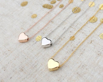 SALE • SALE // Dainty Gold Heart Pendant Necklace/ Handmade/ Delicate/Good for Bridesmaid, Graduation, Birthday Gift and All Meaningful Gift