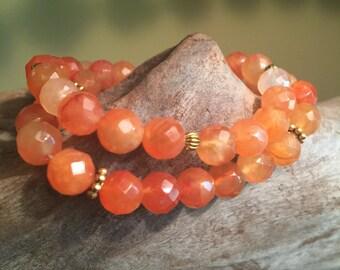 Beaded Bracelet, Stretch Bracelet, Boho Bracelet, Womans Bracelet, Carnelian Bracelet