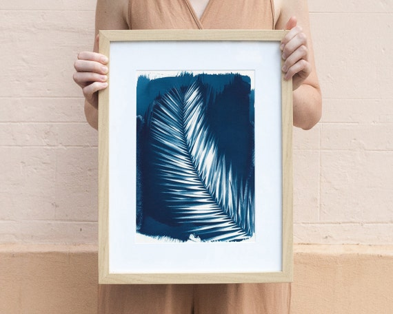 Palm Leaf Cyanotype Print on Watercolor Paper, A4 size