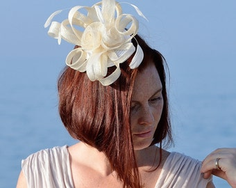 Beautiful ivory Sinamay Headpiece With Comb