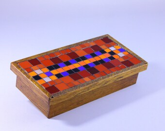 Wooden Jewelry Box Vintage Mosaic Handmade wooden box old wooden box with mosaic lid