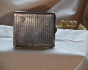 "Vintage ""Clan Wilson"" sterling silver cigarette case, Vintage silver cigarette case"