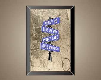 BEATLES Inspired Poster Print | Street Signs | Lyric Art | 11 x 17 | Abbey Road | Penny Lane
