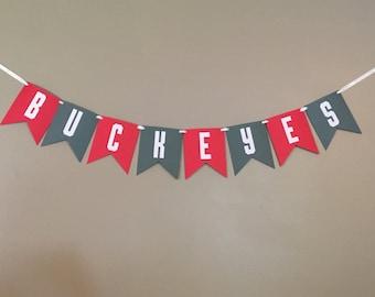 Buckeye Banner, Ohio State Banner, OSU Banner, Scarlet, Grey, Team Spirit, Graduation