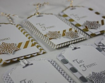Christmas Gift Tags Pack of 6 Snow Flake  With Envelopes Gift Card Holders  Silver And Gold Handmade Polka Dots Stripes Chevrons To and From