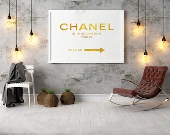 GOLD COCO CHANEL Quote,Office Decor,Home Decor,Girls Room Deco,Typography PosterFashion Print,Chanel 31 Rue Cambon,Fashion Decor,Fashionista