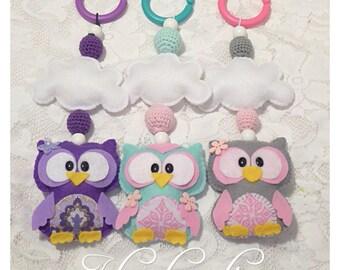 Owl mobile Stroller toy Pram chain nursery decoration baby