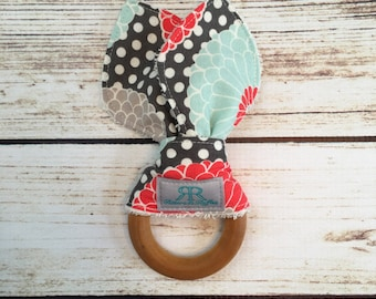 Floral Organic Maple Wood Teether | Teething Toy | Polka Dot Teether | Gift for Baby Girl | Baby Shower Gift | Organic Baby Toy