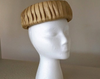 Vintage Hat, Gold Pillbox, Pleated Lame Over Straw, Ca. 1960s