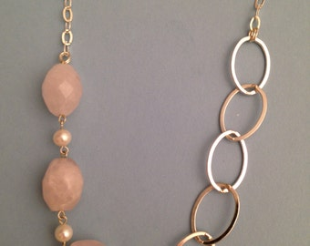 Rose quartz, freshwater pearl and sterling silver necklace and earrings