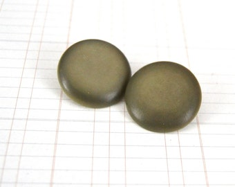 Olive Green Coat Buttons with Metal Loop Shank Backs