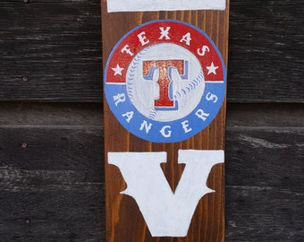 Texas Rangers Hand Painted Upcycled Wood Sign