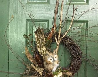 """12"""" Owl Wreath"""