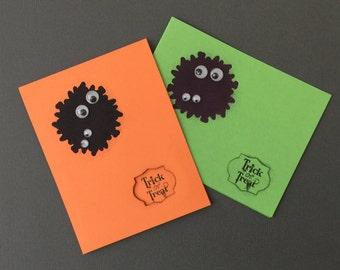 Handmade Greeting Cards-Halloween Monsters in the Dark (2 cards), Notecards