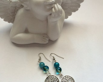 Tree of life earrings silver with turquoise beads metal