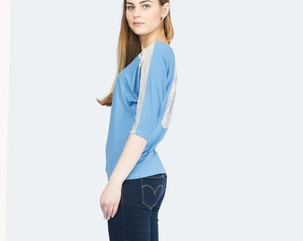 Knitting blue Blouse / Women's Blouse with lace /