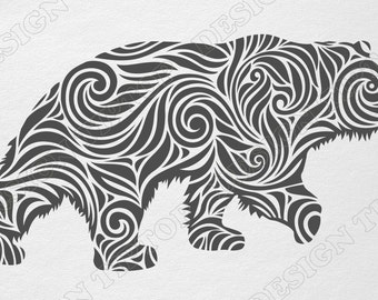 Bear svg, dxf, png, eps, cdr, bear vinyl svg, bear zentangle, bear silhouette,  wild animals, wall art, Silhouette Studio, animals tattoo,