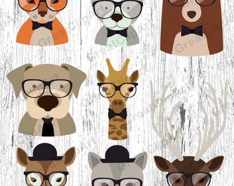 9 Hipster Kids Animals clipart, animals clipart, Kids clipart set, animals kids clipart, digital animals, Hipster animals, scrapbooking clip