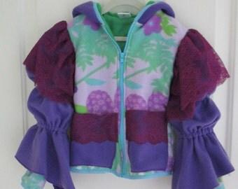 Girls fleece Hoodie Jacket - Linned - Princess Sleeve - Princess Jacket - Pockets - Purple - Butterfly - Flower - Girls Jacket- Girls Hoodie