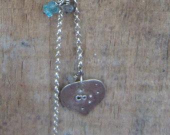 Silver Labradorite Blue Apatite necklace