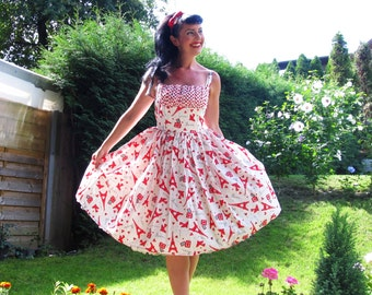 Pinup dress 'Parisian Girl', Eiffel tower dress, READY TO SHIP, Plus size available, gathered bust dress