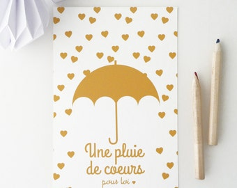 Illustrated postcard of little hearts and an umbrella