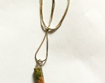 Unakite Wand on Sterling Silver Chain