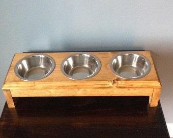 3(1/2 pt) Bowls Dog Feeder Handmade wooden,Cats/Kittens,Pugs,Chihuahua,Dachshund