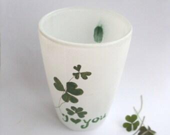 Glass Coffee Mug, Coffee Mug, Tea Mug, Hand Painted Glass Mug, Pressed Flowers Glass Mug, Coffee Mug With
