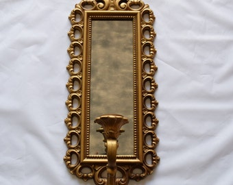 Vintage Homco smokey Mirror/ Ornate Homco Sconce/ Candle Holder/Homco Wall Hanging