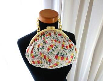 1930s celluloid frame purse / 30s beaded purse / Red Yellow Apple Dot hand bag 1940s 40s