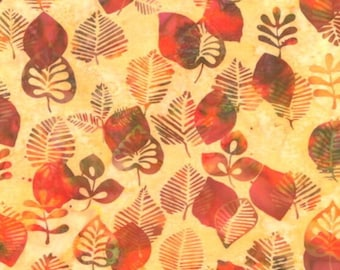 By The HALF YARD - Batik Bali Chop Graphic Leaf #K2498-469 Nasturtium by Hoffman Fabrics, different fall leaves, orange, green, red, yellow
