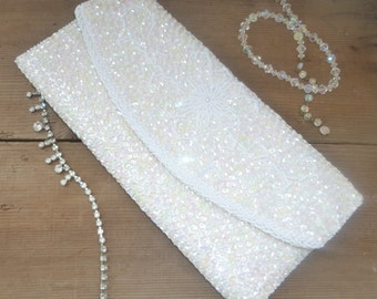 1950s Vintage Sequin and Seed Bead Clutch