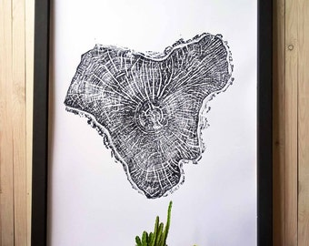 Original hand-pressed Print. Wall Art. Big unusually shaped Birch.