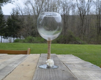 Wine Glass Lace and Burlap Detail