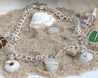 Unique Tri-color Hawaiian Sea Glass With Puka Shell Bracelet,sea glass,silver bracelet,hawaiian puka shell,sea shell,sea glass,color glass
