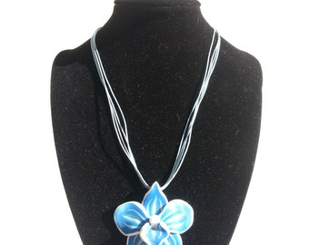 Handmade polymer clay Necklace blue Orchid