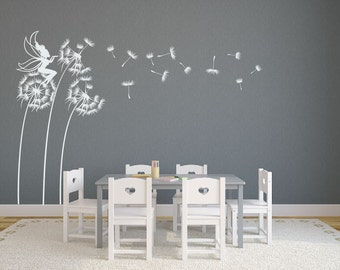 Dandelions With Fairy Blowing Dandelion Seeds Wall Decal
