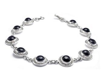 Boho Bracelet // Sterling Silver Bracelet // Onyx Bracelet // Round Stone Bracelet // Black Stone Bracelet // Gift for her