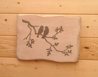 Wood wall decoration, birds on a branch, painting on wood, wood sign, wall decor, birds
