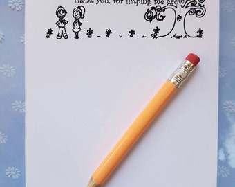 A6 Notepad - Teacher seeds to mighty trees, teacher notepad, teacher gift, teacher present, from little seeds grow mighty trees