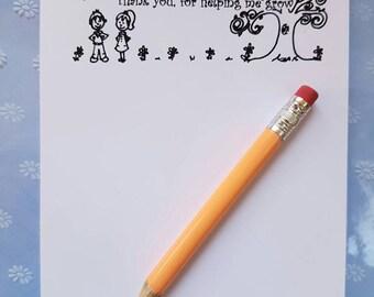 Teacher A6 Notepad - From little seeds grow mighty trees, teacher notepad, teacher gift, teacher present